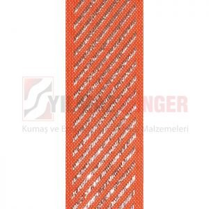 Mattress edge tape herringbone silvery orange