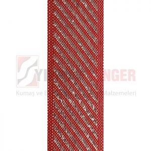 Mattress edge tape herringbone silvery red